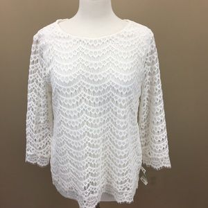 NWT Charter Club Crochet Lace Overlay Blouse White